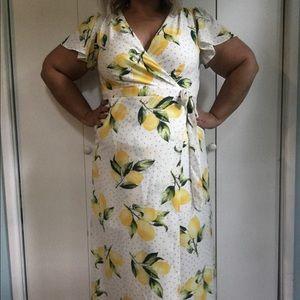 Plus size lemon wrap maxi dress
